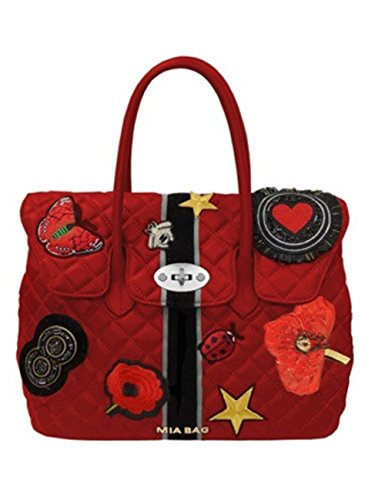 Due manici leather con patches Rosso