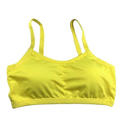Brightup Femmes Yoga Débardeurs Bras Fitness Course à pied Extensible sans Couture Soutien-gorge de Sport Jaune