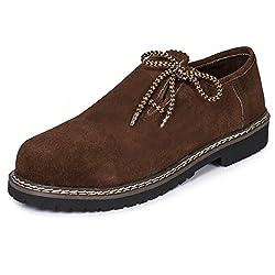 PAULGOS Trachtenschuhe Echt Leder Haferlschuhe Haferl Trachten Schuhe in 3 Farben Gr. 39-47, Farbe:Dunkelbraun, Schuhgröße:46
