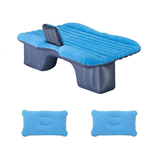 Price comparison product image DMGF Inflatable Car Mattress Camping Air Bed Universal SUV Back Seat Extended Air Cushion Portable Travel Air Mat Outdoor Seeping Air Pad With Air Pump 2 Air Pillows, Blue