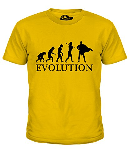 Kostüm Evolution Batman - Candymix Superheld Evolution des Menschen Unisex Jungen Mädchen T Shirt, Größe 12 Jahre, Farbe Dunkelgelb