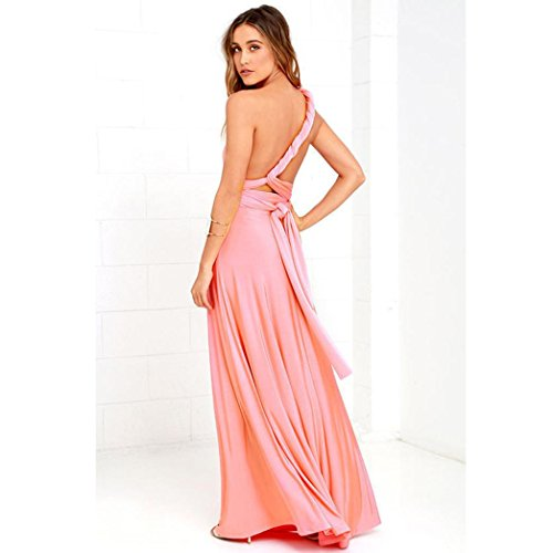 DOLDOA Vestido de noche elegante de las mujeres de la manera Vestido largo de la dama de honor del abrigo de múltiples formas convertible
