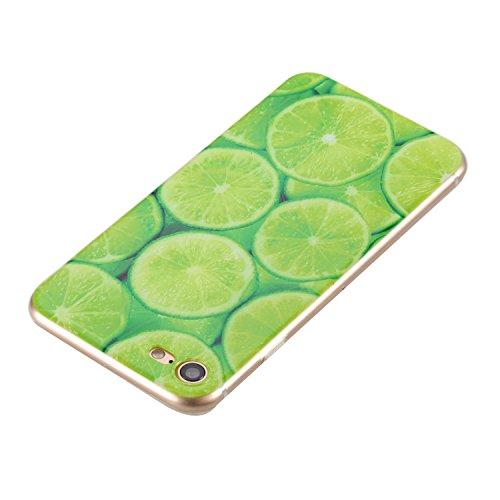Custodia iPhone 7, iPhone 7 Cover Silicone, SainCat Cover per iPhone 7 Custodia Silicone Morbido, 3D Design Ultra Slim Transparent Silicone Case Ultra Sottile Morbida Transparent TPU Gel Cover Case Sh Limone