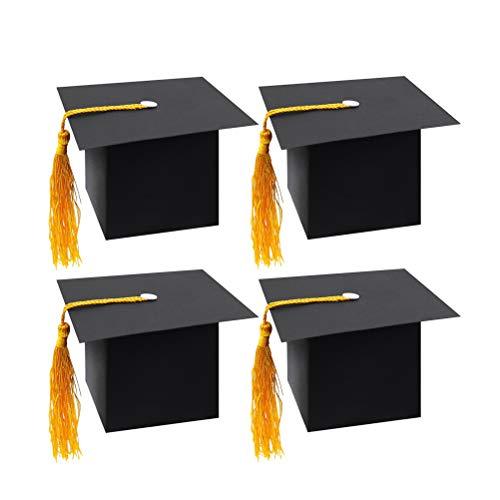 TOYANDONA 24 stücke Graduation Cap Dekorationen Graduation Gift Box Süßigkeiten Pralinenschachtel für Graduation Party Supplies (Schwarz)