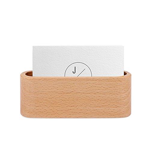 OurLeeme clásico titular de la tarjeta de visita de madera de pantalla única Nombre compartimento de la tarjeta soporte de escritorio de escritorio encimera Brown