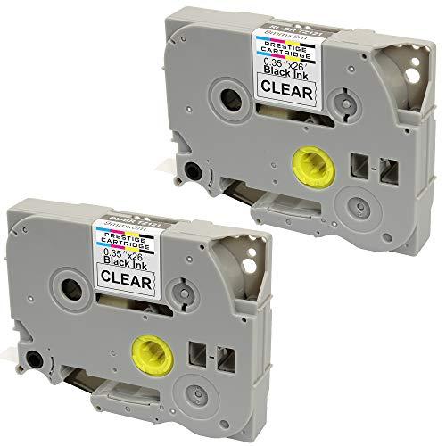 2 Compatibili Cassettes TZe-121 TZ-121 nero su trasparente 9mm x 8m Nastri laminati per Brother P-Touch PT-1000 1005 1010 3600 9600 D200 D210 D210VP D450VP D600VP E100 H101C H105 H110 H300 P700 P750W