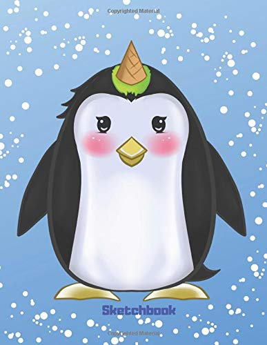 Sketchbook: Cute Kawaii Penguin with Ice Cream Horn Unicorn Sketchbook for Girls. 110 Pages Blank Paper for Doodling, Drawing & Sketching. Funny ... Unicorn Gift Idea for Kids & Unicorn Lover.