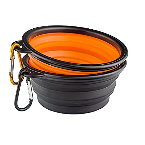 Enuo Collapsible Travel Silicone Dog Bowl Portable Pet Food Water Bowl With Carabiners Set of 2