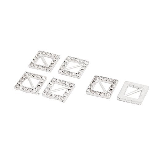 DealMux Metall-Geschenk-Karte-Band-Quadrat DIY Dekor-Strass-Schnalle Slider 16 x 16mm 6pcs -