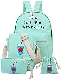 Happy Cherry - (Set/4 Piezas) Mochila Escolar Bolso Bandolera Bolsa Bolsita para Mujer Chica Estudiantes Viaje - Verde claro