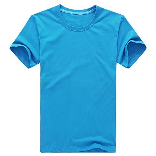 Einfarbiges Rundhals-T-Shirt für Herren mit V-AusschnittBaumwolle Kurzarm Rundhals See blau M