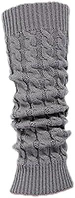 SODIAL(R)Calcetin Leotardo Calentadores de pierna Cubierta de bota tejida de ganchillo de invierno de mujeres gris claro