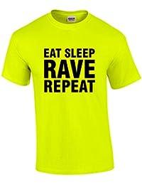 Direct 23 Ltd Eat Sleep Rave repeat Mens Neon Yellow T-Shirt