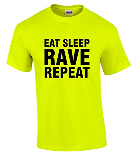 Men's Neon Yellow EAT SLEEP RAVE REPEAT T-shirt - S to 5XL