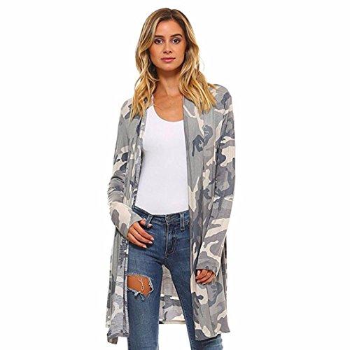 Strickjacke damen Kolylong® Frauen camouflage drucken Lange Strickjacke Herbst elegant Mantel Mode Kimono Cardigan Langarmshirt Loose Oberteil Jacke Bluse (L, Grau) (Lace Wolle Strickjacke)