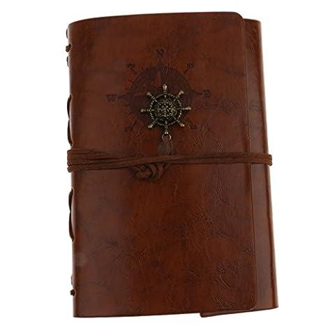 Vintage Journal Reisetagebuch Anker Ringbucheinlagen Zeichenfolge gebunden leeren Notebook - Braun