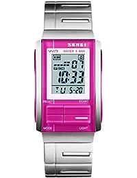 YPS unisex de moda de lujo ocasional del LED Digital Deportes completos de acero relojes de pulsera-Rose Red WTH3447