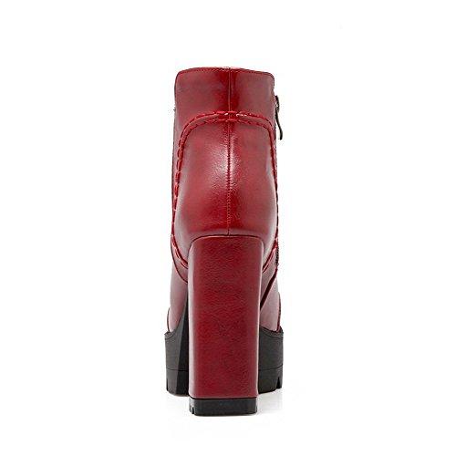 AgooLar Damen Schließen Zehe Niedrig-Spitze Hoher Absatz Pu Leder Stiefel Rot