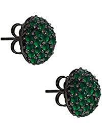 M.C.L Sterling Silver Medium Pave Half Ball Stud Earring