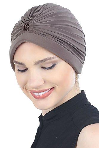 Deresina Headwear Pañuelos para Quimioterapia Turbante con Perlas Frente (Visón)