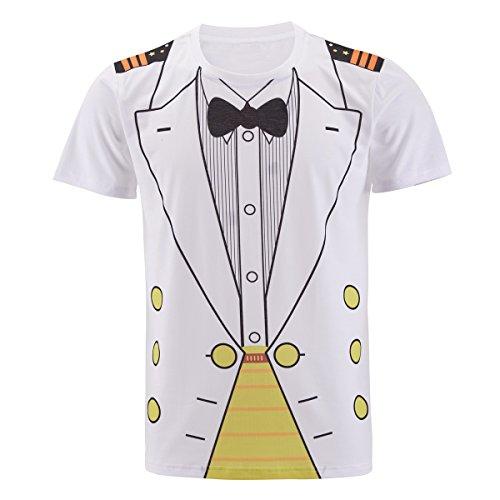 Funny World Herren Seemann Marine Kostüm T-Shirts Capitaine