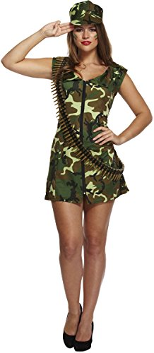 Umbrella Girl Kostüm - Adult Ladies Sexy Army Girl, Soldier Style Fancy Dress Costume. One Size 10-12 by Henbrandt