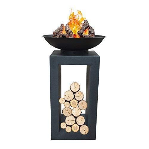 DRULINE Moderne Feuerschale Feuerkorb Feuerstelle aus Gussstein Steinguss Ø 39,5cm H68,5