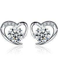 Fashmond- Boucles d'oreilles Clous de Coeur- Argent fin 925 et pierres en oxyde de zirconium- Idée Cadeau Anniversaire
