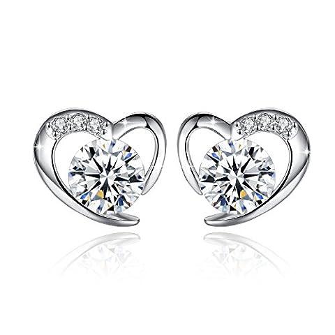 Fashmond- Boucles d'oreilles Clous de Coeur- Argent fin 925 et pierres en oxyde de zirconium- Idée Cadeau