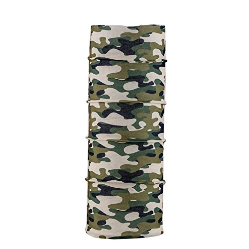 Autofy Unisex Army Man Camouflage Print Lycra Headwrap Bandana for Bikes (Green, Cream and Black, Freesize)