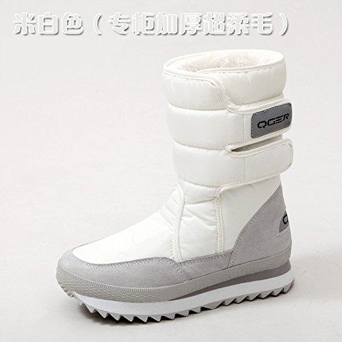 SQIAO-X- Inverno di spessore fondo piatto resistente all'acqua anti-slip caldo, scarponi da neve e neve stivali scarpe di cotone Riso bianco di spessore