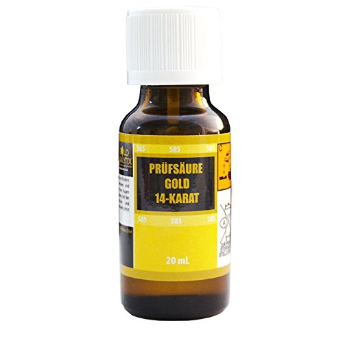 Prüfsäure Gold (14 Karat, 585-20 ml) - Probiersäure, Gold-Test, Gold-Tester