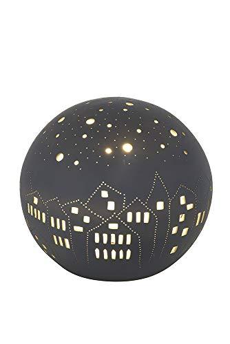GILDE Lampe Kugel City - Porzellan- Lochmuster im Prickellook grau Breite 22 cm -