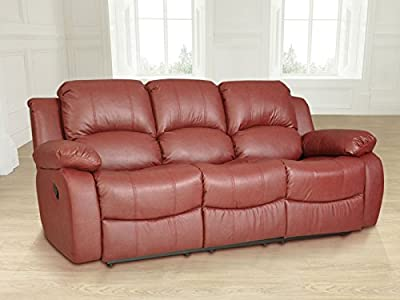 Lovesofas Valencia 3 Seater Bonded Leather Recliner Sofa - Burgundy from Lovesofas