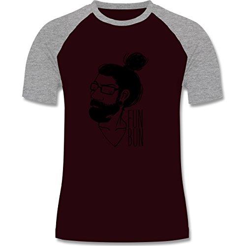Hipster - Hipster Fun Bun - zweifarbiges Baseballshirt für Männer Burgundrot/Grau meliert