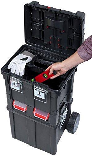 Werkzeugkoffer Werkzeugwagen Rollwagen Wheelbox HD Compact schwarz / rot Trolley Rollen - 5
