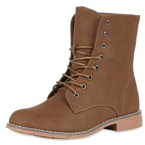 Leicht Gefütterte Damen Schnürstiefeletten Freizeit Schuhe Braun