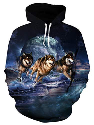 3D Wolf Hoodie Herren Damen Funky HD Galaxy Wolf Laufen Gedruckt Leichter Pullover Mit Kapuze Sweatshirt für Urlaub Dunkelblau L (Urlaub Sweatshirts)