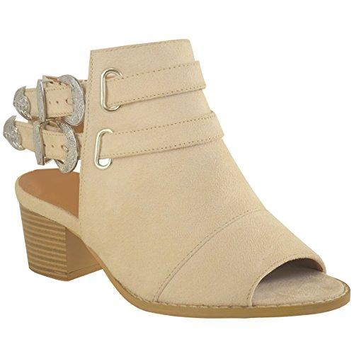Donna Cowboy Del West Sandali Stivali Caviglia Grosso Tacco Largo Buckle Misura color carne camoscio sintetico/Argento fibbia