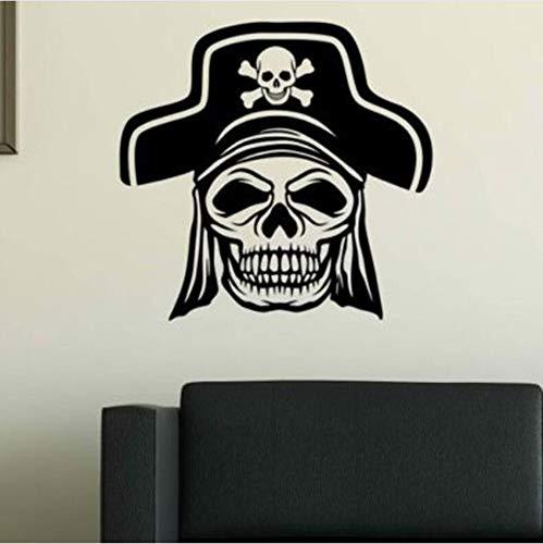 l Piraten Haar Kopf Hut Abnehmbare Pvc Persönliche Dekoration Wandaufkleber Für Wohnzimmer Vinyl Aufkleber Für Tür Home Art Decor Poster, 42X42 Cm ()