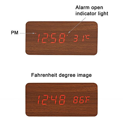 Image of Alarm Clock, YOKKAO Digital Led Desk Clock Touch Sound Sensor Voice Control Built-in Temperature Time Display for Home and office (Wooden Color)