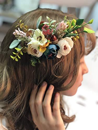 Kercisbeauty Brautschmuck Haarkamm Seitenhaarband Wald Kopfschmuck Hochzeit Haar Weinrebe Brautjungfer Geschenk Braut Idee