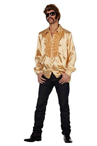 Satinhemd gold 70er Jahre Mottoparty goldenes Hemd Größe 46 bis 60 (XXL) (Jahre Rüschen 70er Vintage)