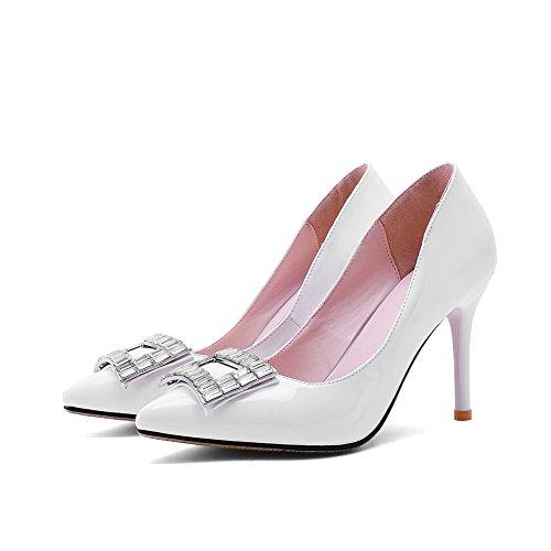 Adee pour femme élégant PU Pompes Chaussures Blanc