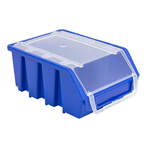 1 Stück Stapelboxen Sichtlagerbox Kiste Box mit Deckel Größe 2 blau Ergobox Plus Kunststoff Lagerkiste