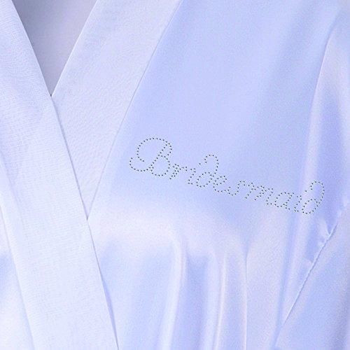 Brautjungfern Satin Vlies Strass Bademantel von Varsany auf Kundenwünsche anpassbarer Morgenmantel Kimono mit Strass elfenbeinfarben Weiß