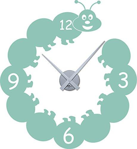 GRAZDesign 800014_SI_055 Wandtattoo Uhr Kinder Wanduhr mit Uhrwerk für Kinderzimmer lustige Raupe (62x57cm//055 Mint//Uhrwerk Silber)