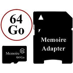 Carte Mémoire au format Micro-SD 64 Go classe 10 + Adaptateur pour Samsung Galaxy S7