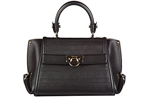 Salvatore Ferragamo borsa donna a mano shopping in pelle nuova sofia nero