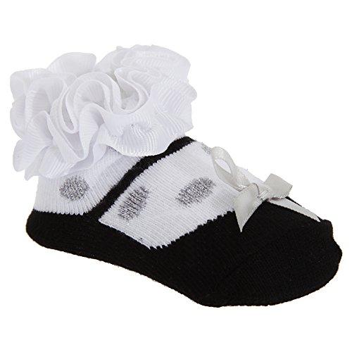 Rüschen Ballerina (Baby Mädchen Rüschen Socken Ballerina Style mit Masche (1 Paar) (Einheitsgröße) (Weiß))